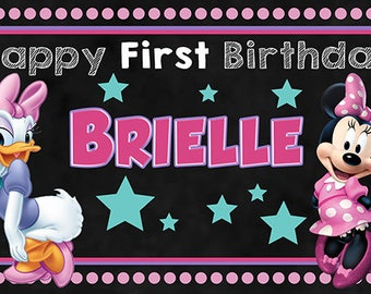 Minnie Mouse and Daisy birthday banner