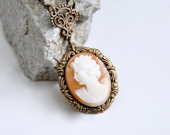 Carved Shell Cameo Necklace, Antique Brass Cameo Necklace, Victorian Style Cameo Necklace, Peach Cameo, Art Nouveau Necklace, Cameo Jewelry