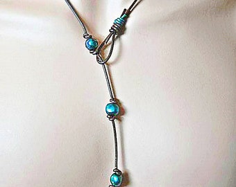Leather Necklace,  Pearl Necklace,  Lariat Necklace,  Freshwater Pearls,  Brown Leather Necklace, Blue Pearls,  Pearl Jewelry
