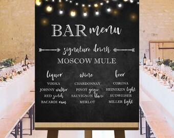 Bar menu wedding drink sign, large chalkboard wedding signs, bar menu sign, printable large wedding signs, customized DIGITAL