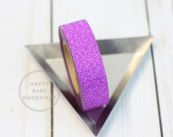 "Purple Washi Tape, 10 Yds, 9/16"", Purple Glitter Washi, Decorative Tape, Glitter Washi Tape, Fine Glitter Washi, Purple Wedding Decor"