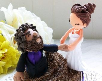 Custom Wedding Cake Topper- Falling into the cake