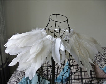 white feather cape top feather jacket feather shawl GOOSE feather cape 2 PLY ones