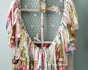 Garland, Banner, Fabric Garland, Rag Garland, Tattered Banner, Shabby Chic, Gypsy Style, Wedding Backdrop, Nursery Decor, Baby Shower Prop