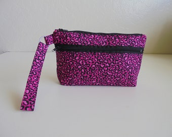 Pink Cheetah, Wristlet, Cell phone Bag, Zippered pocket, clutch, coin purse, fabric bag, iPhone bag, Android Bag, clutch, credit card pocket