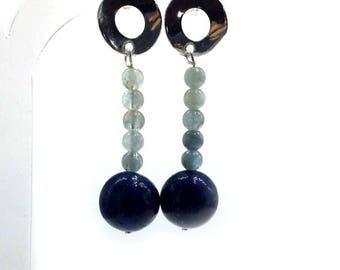 Aquamarine and lapislazul earrings.