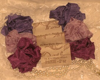 French Inspired Seam Binding Ribbon Distressed and Scrunched  - La Violette - French Marche (SB002)