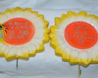 Vintage Miller Studio Flower Chalkware Plaques Wall Hangings 1981 Set of 2 Plasterware Bees Sunflower