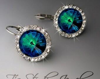 Peacock Blue Bridesmaid Wedding Earrings Crystal Rhinestone - SONIA