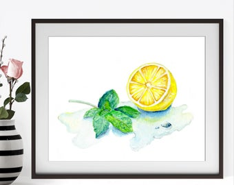 Still Life Painting, Lemon Decor, Lemon Print, Lemon Painting, Fruit Painting, Food Art, Food Wall Art, Foodie Gift, Kitchen Decor, Lemon