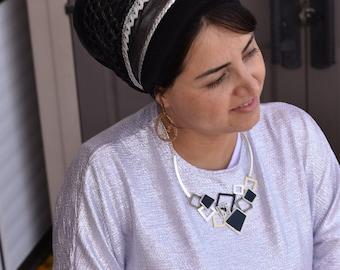 fancy silver Dots Black Tichel, apron design, handmade tichel hair covering easy to use, by oshratDesignz