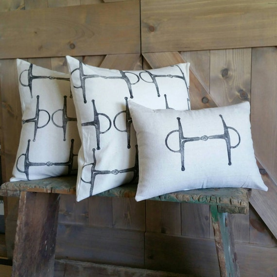 Equestrian Pillow Covers Set of Three- hand-printed full cheeck snaffle bits- by Red Maple Run
