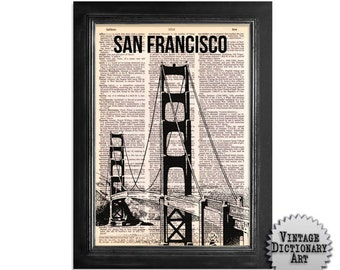 San Francisco Golden Gate Bridge - printed on Recycled Vintage Dictionary Paper - 8x10.5