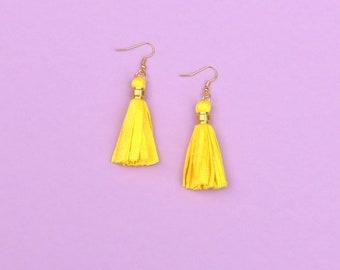 Yellow Tassel Earrings, Boho Brass Earrings, Gift For Her, Colorful Fabric Statement Earrings, Girlfriend Gift, Spring Jewelry