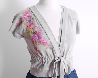 SALE 25% OFF Hand-painted cardigan Cardigan Painted Bolero hand-painted Diy bolero Diy cardigan Flowers painted blouse