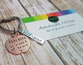 Teaching is a work of heart hand stamped personalised teacher apple keychain