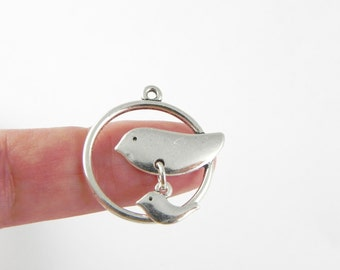 6 Bird Charms - Round Mother Bird - Silver Plated - 26mm x 25mm - with Baby Bird