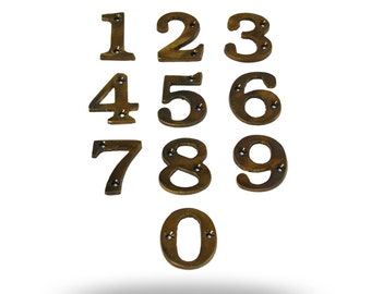 Exterior Numbers for a House, Garage or Mailbox, Antique Brass Number Set 0-9, House Number Set 1 2 3 4 5 6 7 8 9 0 Decorative Metal Numbers