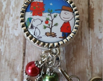 SALE!! Christmas Charlie Brown & Snoopy Retractable Badge Holder - Great Holiday Badge - Low Flat Rate Shipping in the US
