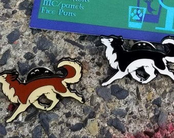 HUSKY prancing pooch Enamel Cloisonne Pin, MajikCraft Collector Pin