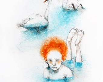Watercolor Painting of a Girl with Swans. Swans Watercolor Painting. Swans illustration. Watercolor portrait of a girl. Bird Watercolor