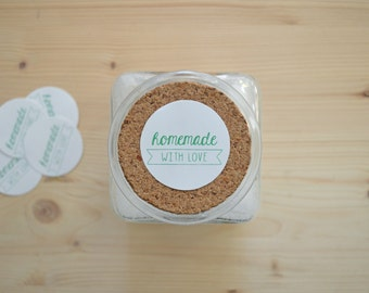 """10 Stickers """"Homemade with Love"""""""