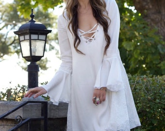 Bohemian Dress Lace Dress With Bell Sleeves Ivory Lace
