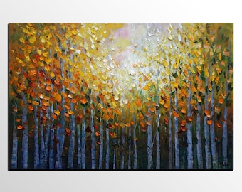 Oil Painting Original, Landscape Painting, Canvas Oil Painting, Abstract Canvas Art, Bedroom Wall Art, Contemporary Art, Tree Painting