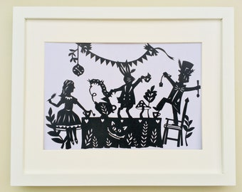 Mad Hatters Tea Party, Alice in Wonderland papercut print