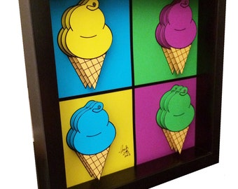 Ice Cream Art Kitchen Decor 3D Art Andy Warhol