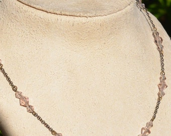 Pink Crystal Necklace, Blush Pink