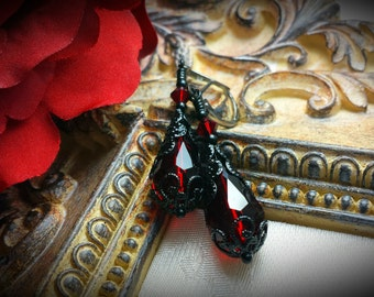 Ox Blood Red Black Gothic Earrings, Garnet Victorian Dangles, Crimson Edwardian Bridal Drops, Dark Red Steampunk, Titanic Temptations 17012