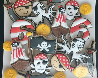 Pirate Birthday Custom Decorated Cookies