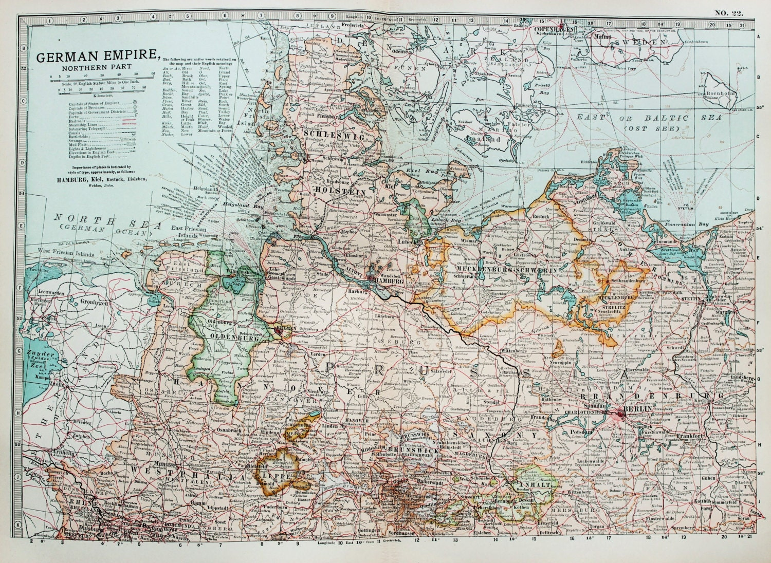 Antique Map Northern Germany German Empire Encyclopedia