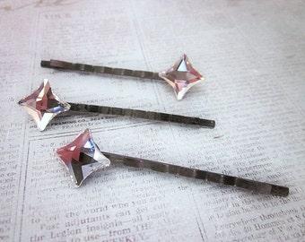 Hair Stars, Sparkling Hair Bling, Sparkling Swarovski Hair Accessory, Clear Crystal Hair Pin, Diamond Hair Pin, Star Hair Pin, Women's Pin