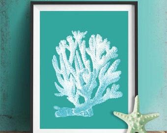 Sea Coral Print 1 White On Turquoise - sea coral décor Turquoise art Turquoise home decor Turquoise wall art sea coral art print Bathroom