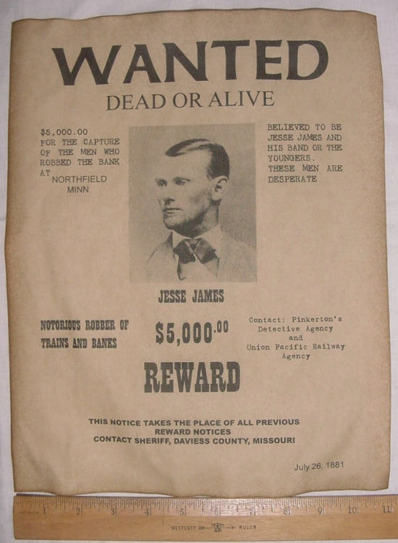 Big 11 X 14 Jesse James Wanted Poster Old West Western