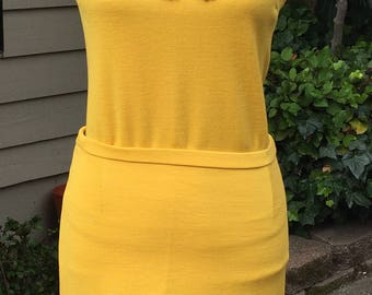 Vintage Mustard Yellow 2-piece Top and Skirt Set Size M