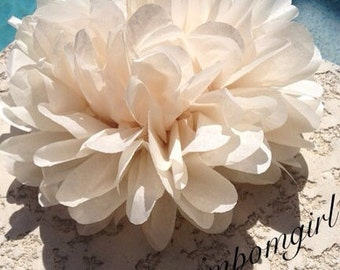KHAKI / 1 tissue paper pom pom / wedding decorations, baby shower, nursery decor, birthday decorations, bridal shower, tea party, diy