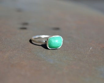Chrysocolla Ring Stacking Ring Gemstone Ring Silver Ring Birthday Gift Anniversary Jewelry Gift for Her Greece Handmade Promise ring