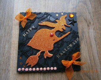 "Card ""Bewitched"" halloween orange and black"