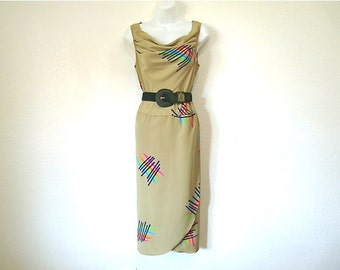 Vintage 80s Dress Olive Graphic design Cowl Neck Sleeveless Wrap skirt dress S
