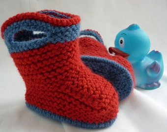 Baby Booties Knitting Pattern, Baby Boots Pattern, pdf Pattern, Knit Baby Boots pdf Instant Download,  - SPLISH SPLASH SPLOSH