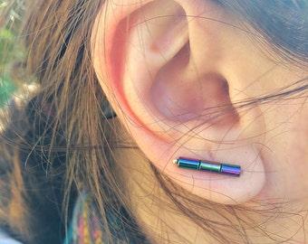 Bar Earrings, Hematite Stones, Bar Ear Climber, Sterling Silver Earrings, Bar Studs, Hematite Pins, Hematite Bar Earrings, Boho Earrings