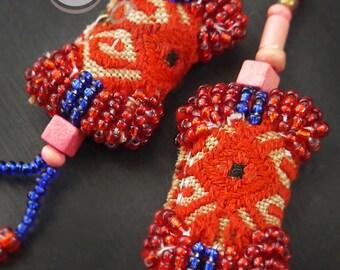 Handmade Red And Blue Tribal Boho Chic Hippie Earrings, Tribal Earrings, Hippie Earrings, Boho Earrings, Colorful Earrings, Gypsy Earrings