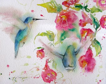 hummingbird art print, flower bird watercolor painting, giclee abstract print, hummingbird trumpetvine art, bird painting,Janice Trane Jones