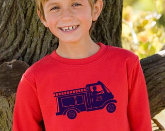 CLEARANCE Firetruck by Nostalgic Graphic Tees in Red/Navy