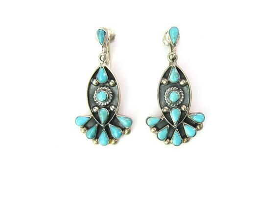Vintage Taxco Southwestern Zuni Style Sterling Silver Turquoise Earrings
