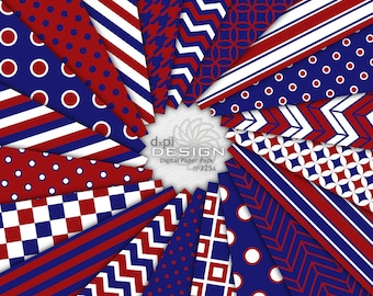 Dark Blue and Red - Digital Paper for Scrapbooks & Crafts - Printable Background Patterns in Red, White and Blue - Instant Download (DP325A)