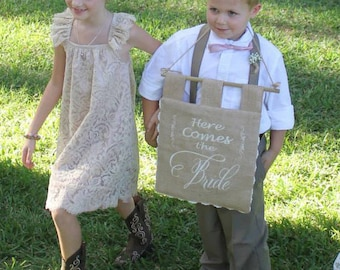 Custom Here Comes the Bride Embroidered Burlap Sign